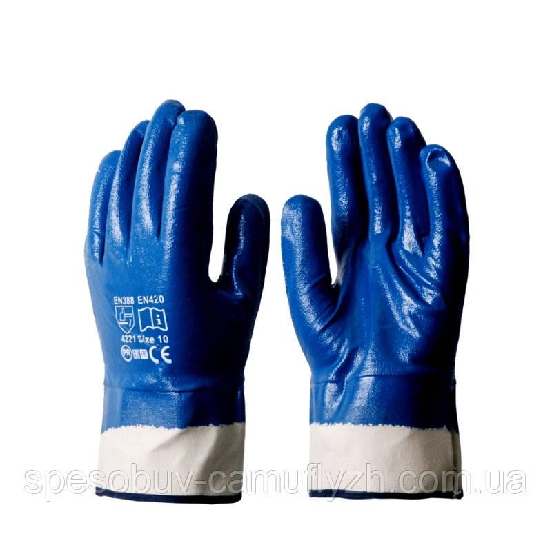 Рукавиця перчатки робоча нитрильная Нітрилова МБС КЩС  Gerva с широким манжетом