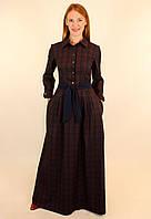 Клетчатое платье рубашка с длинным рукавом 44-50 р 46