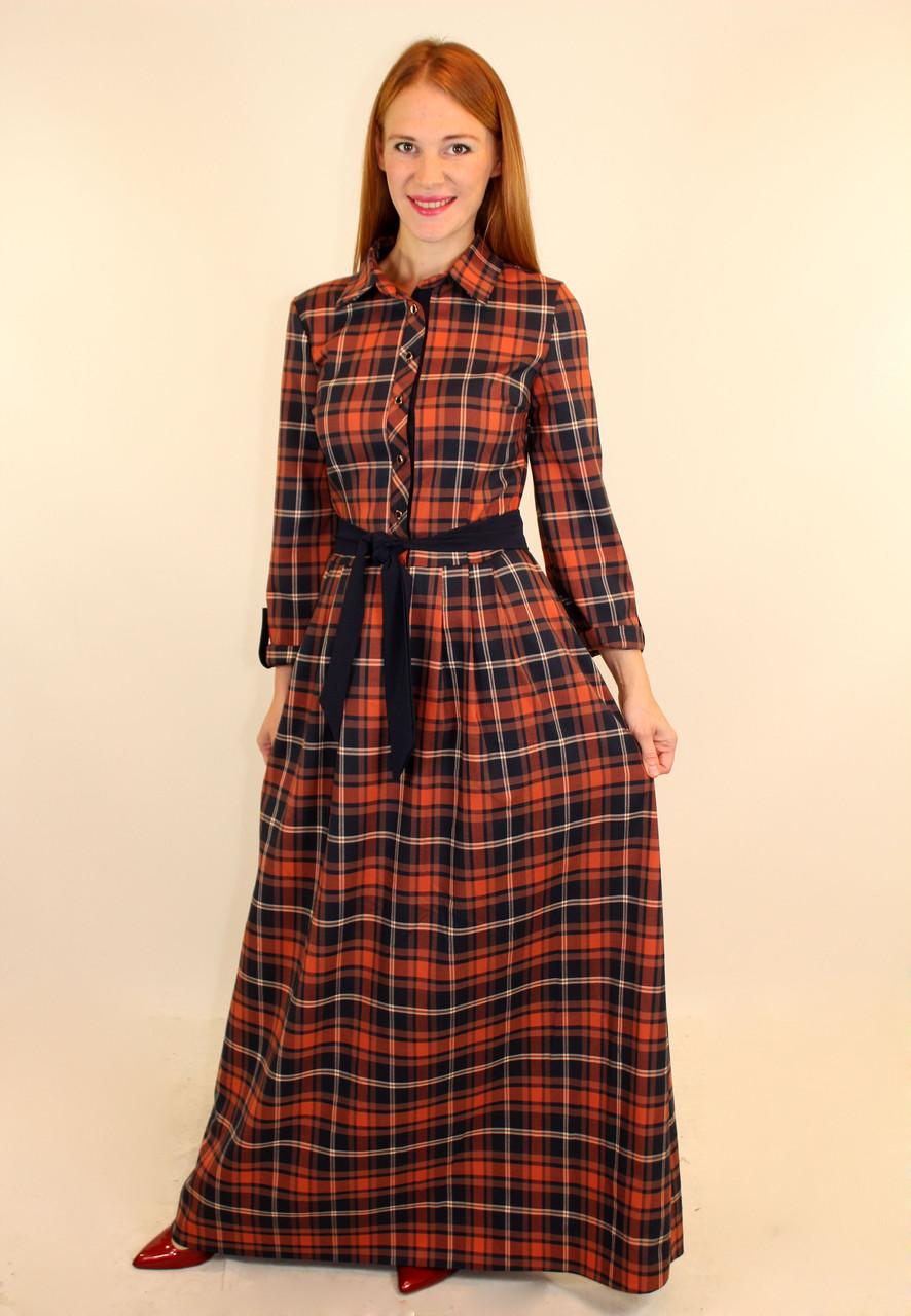 849aca97fa3 Длинное теплое платье в клетку 46-48 р - Оптовый интернет-магазин по продаже