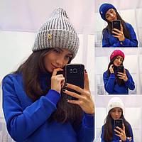 """Женская стильная шапка """"Снежинка"""" с украшением в расцветках"""