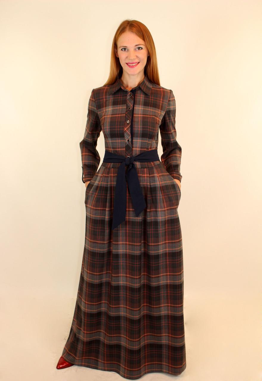 672e0204751 Длинное платье в клетку с воротником 46-48 р - Оптовый интернет-магазин по