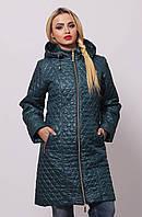 Женская удлиненная демисезонная куртка  КС-11 бирюзовая 40-76 размеры