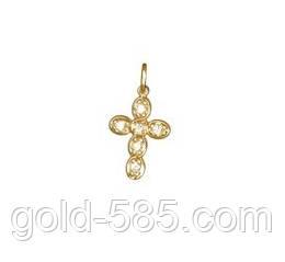Миниатюрный золотой крестик 585* с камнями