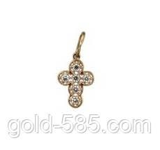 Крошечный золотой крестик 585* с камнями