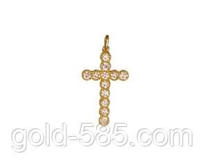 Красивый золотой крестик 585* с камнями