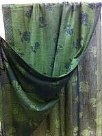 Женский  двухсторонний палантин с рисунком и бахромой  цвет зеленый + черный
