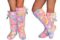 Тапочки махровые ботфорты, домашняя обувь для дома, прикольные тапочки