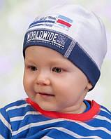Головной убор для мальчиков Бело-синий Осень 46-50 см 3-002237 Tutu Польша