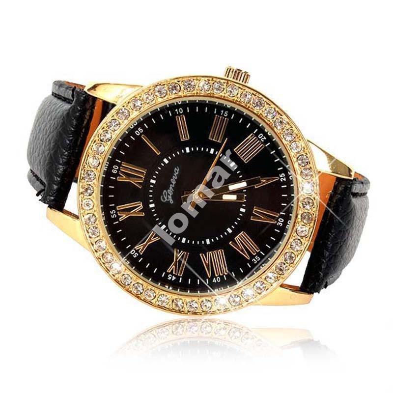 Элегантные женские часы Geneva Cristal со стразами