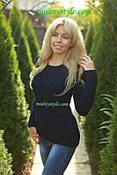 Свитер женский вязаный стильный шерстяной зимний синий