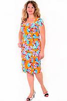 Платье женское с цветочным рисунком , по колено , есть большие размеры,Пл 035-4, 50,52,54,56 , хлопок. 4XL / 56