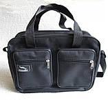 Мужская сумка через плечо крепкая удобная портфель А4 в2610 черная 32х24х10см, фото 2