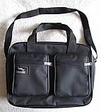 Мужская сумка через плечо крепкая удобная портфель А4 в2610 черная 32х24х10см, фото 4
