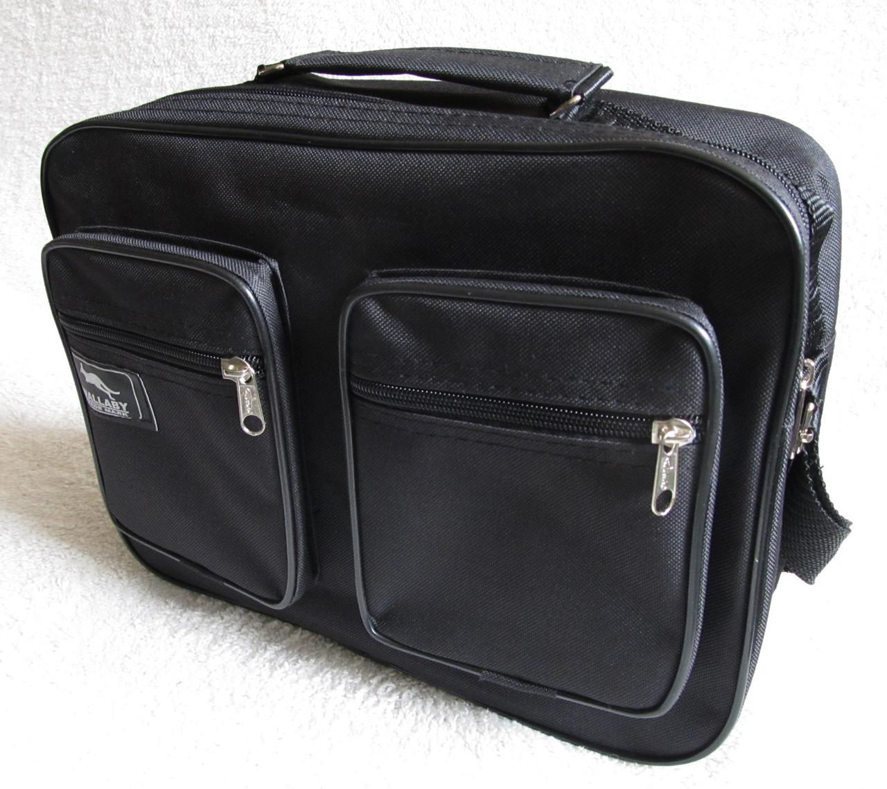 Мужская сумка через плечо прочная бюджетная папка портфель А4 в2611 черная 32х24х10см