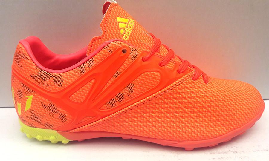 Кроссовки (бутсы, копочки, сороконожки) подростковые Adidas Messi футбольные  оранжевые AD0052 39 ce07f785771