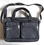Мужская сумка через плечо очень удобная папка портфель А4 в2620 черная  35х24х10см, фото 2