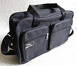 Мужская сумка через плечо очень удобная папка портфель А4 в2620 черная  35х24х10см, фото 3