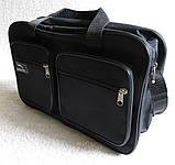 Мужская сумка через плечо очень удобная папка портфель А4 в2620 черная  35х24х10см, фото 5