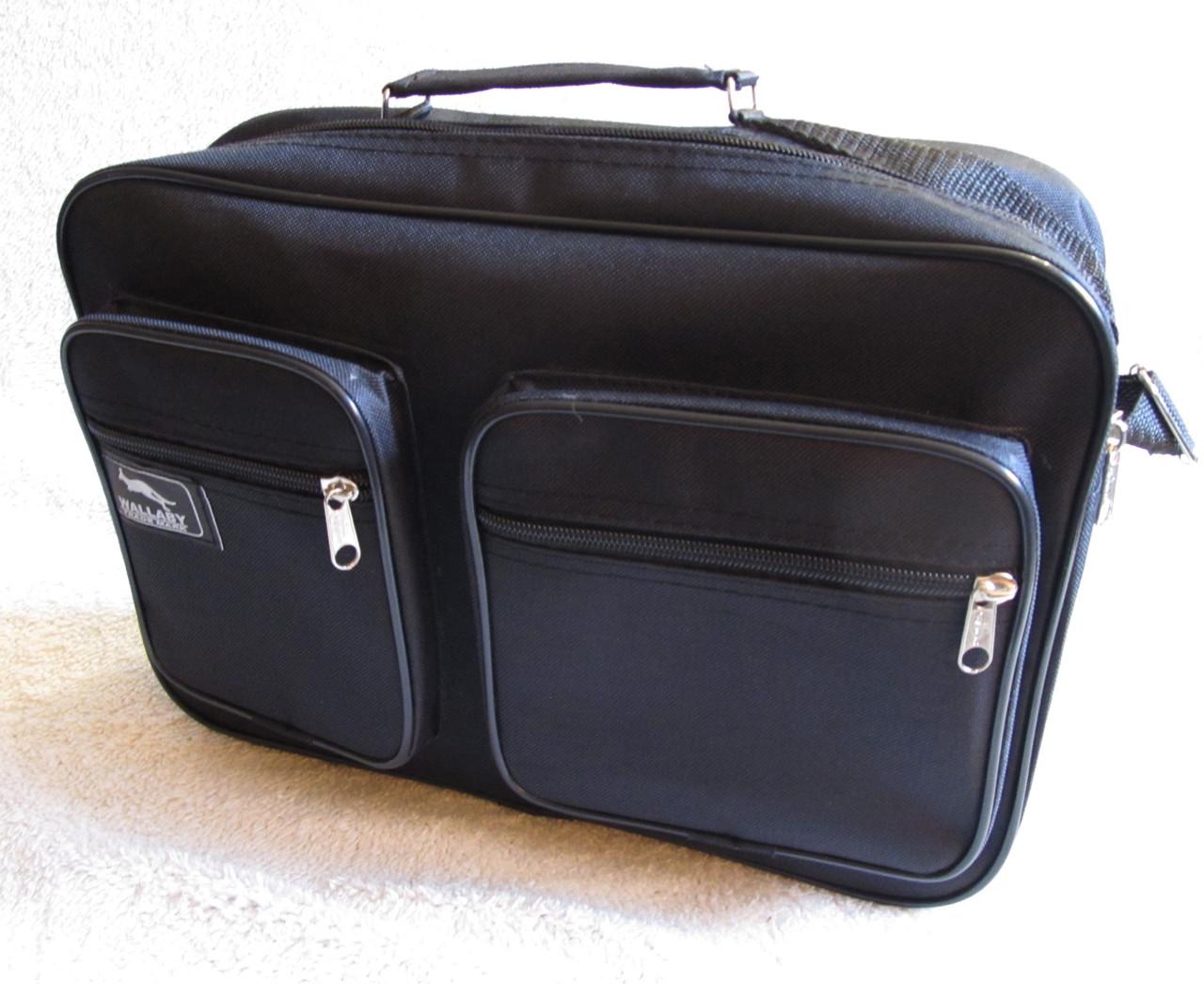 Мужская сумка через плечо дешевая, но качественная папка портфель А4 в2621 черная 35х24х10см