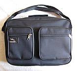 Мужская сумка через плечо дешевая, но качественная папка портфель А4 в2621 черная 35х24х10см, фото 3