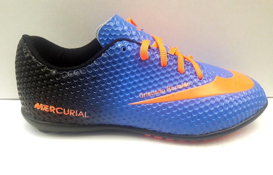Кроссовки (бутсы, копочки, сороконожки) подростковые Nike Mercurial  футбольные синие NI0136 22e8cf6e87d