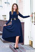 Платье женнское ассиметричное длинное нарядное с рукавами