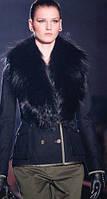 Короткое пальто с меховым воротником, двойной застежкой