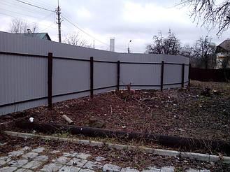Забор из профнастила ПС-10 (коричневый) и распашные ворота (г. Киев) 4