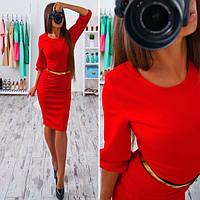 Сукня жіноча ліхтарик з поясом і кишенями