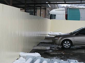 Забор из профнастила ПС-10 (бежевый) и откатные ворота (г. Киев) 3