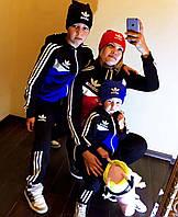 """Детский стильный спортивный костюм до подросткового двухнить 4019 """"Адидас Лампасы Вышивка"""" в расцветках"""