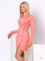 Женское платье персикового цвета с длинным рукавом. Модель 949 SL.