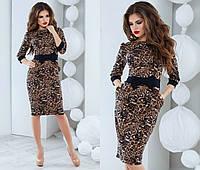 Женское тигровое платье с бантом