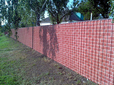 Забор из профнастила под кирпич (Киевская область)