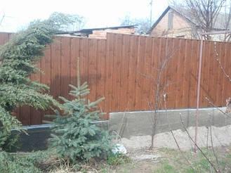 Забор из профнастила под дерево 1