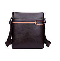 Мужская кожаная сумка Polo. Качественная сумка на молнии. Наплечная сумка