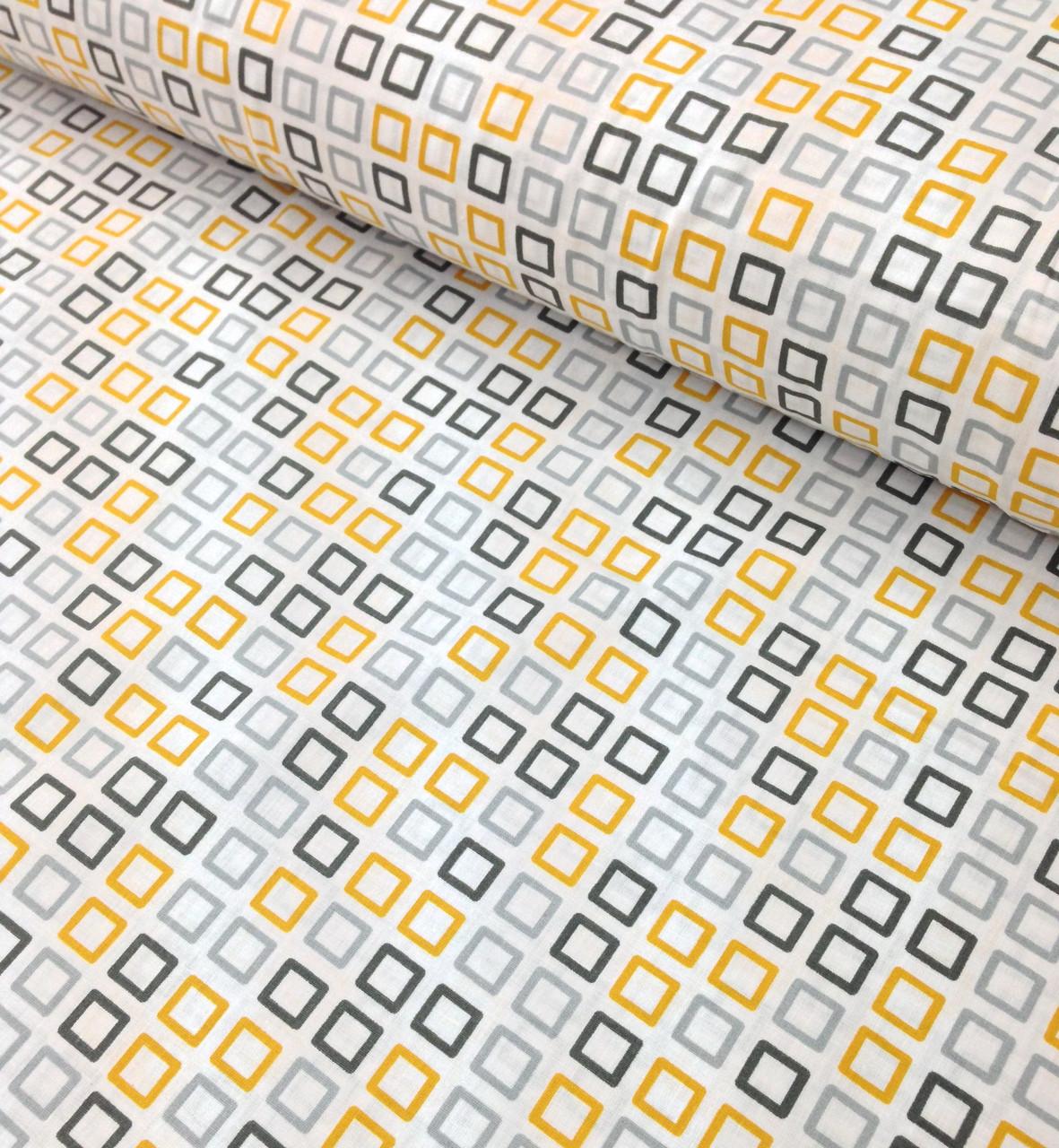 Хлопковая ткань польская квадратики желто-серые