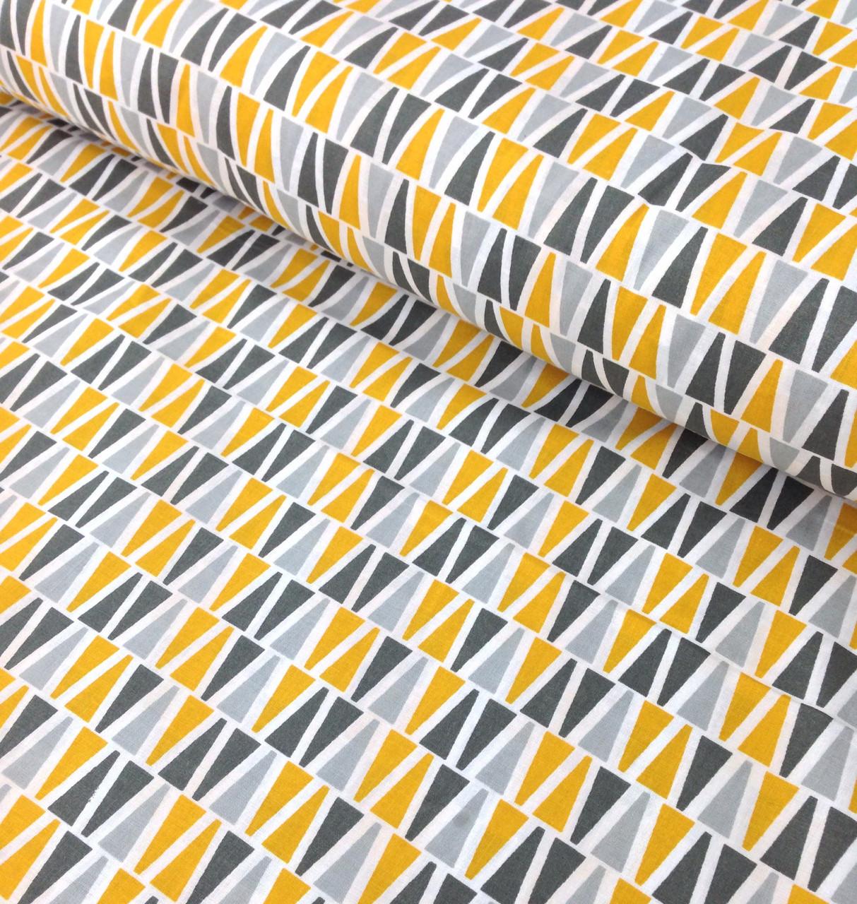 Хлопковая ткань польская треугольники желто-серые