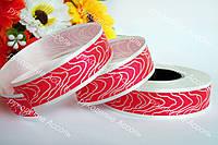 Флористическая лента красная 2см с белой каймой
