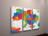 Картина холст модульная Карта Украины цветная 90х60 из 3х частей