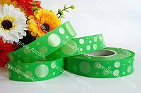 Флористическая лента зелёная 2см горошек