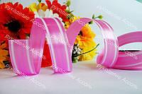Флористическая лента розовая 2см с белой каймой
