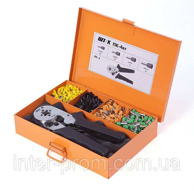 Пресс-клещи ПК-4вт набор для опрессовки одинарных и двойных втулочных наконечников в наборе с наконечниками