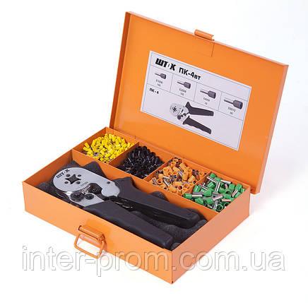 Пресс-клещи ПК-4вт набор для опрессовки одинарных и двойных втулочных наконечников в наборе с наконечниками, фото 2
