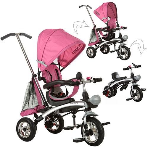 Велосипед 2в1 трёхколёсный+беговел M 3212A-4 розовый