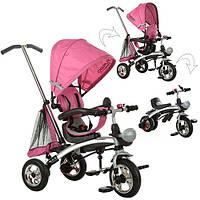 Велосипед 2в1 трёхколёсный+беговел M 3212A-4 розовый, фото 1
