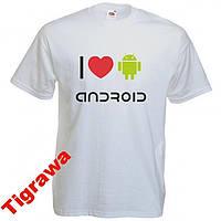 Футболка с печатью I love android 100% хлопок