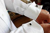 Праздничная белая мужская рубашка б/у р.L