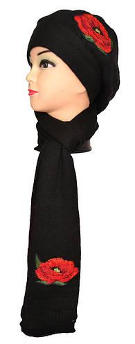 Набор шарф и шапка женские мак