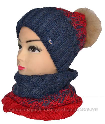 Набор шарф-хомут и шапка с балабоном натуральный мех женские
